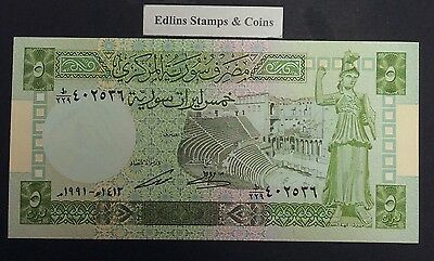 Syria 1991 5 Pounds  bank note.