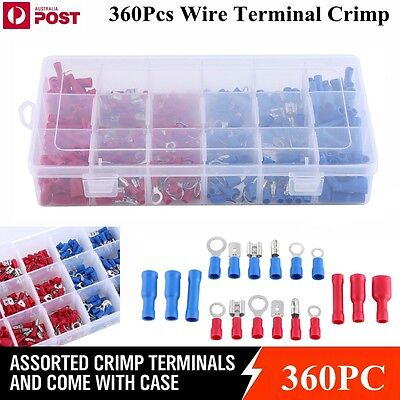 360Pcs Assorted Insulated Electrical Wire Terminal Crimp Connector Spade Set Kit