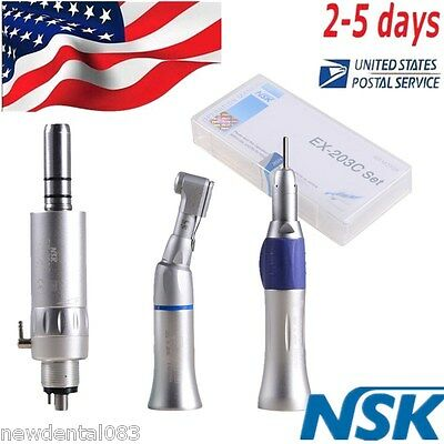 Dental NSK Style Low Speed Handpiece 2H Straight/Contra Angle/Air Motor Kit+USA