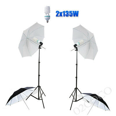 Photography Studio Continuous Flash Umbrella Lighting Light Backdrop Stand Kit