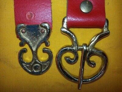 Roman Red Leather Belt Brass Buckle Strapend Medieval