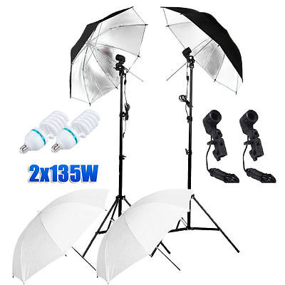 Studio Photography 2x 135W Lamp Umbrella Light Stand Set Continuous Lighting Kit
