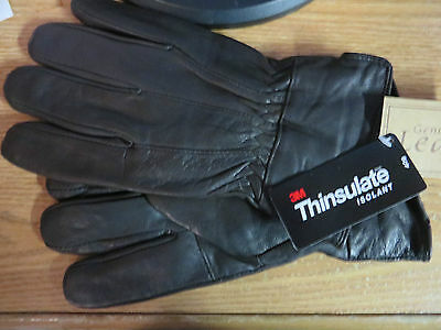 Mens Black Soft Leather Gloves 40 Gram Thinsulate Insulation