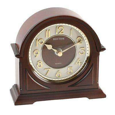 Rhythm Arch Mantel Clock with 3D Gold Effect Numbers & Convex Glass Front
