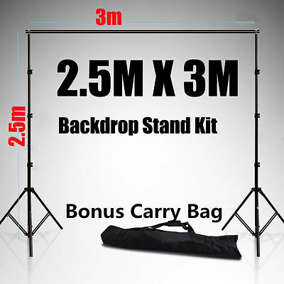 3x2.5M Photography Studio Backdrop Stand Background Support With Free Carry Bag