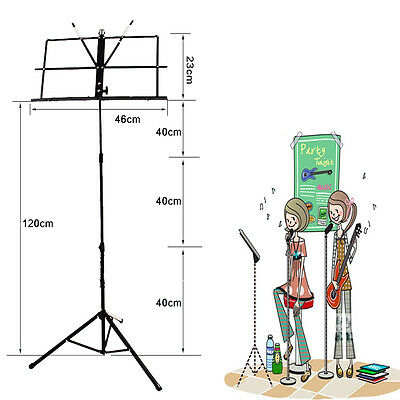 Metal Adjustable Music Sheet Stand Pupitre Holder Folding with Carry Case +Sac