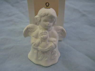 1992 Goebel ANGEL BELL ORNAMENT White Bisque With Doll in Box FREE SHIPPING
