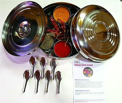Authentic Indian Spice Box with Double Lid (Large), 7 spice spoons & FREE Guide