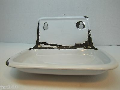 Old Enamel Soap Dish Tray farm industrial factory white enamel/porcelain finish