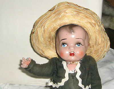 "9"" Mexican Boy Doll, composition, original outfit, need to be restring"