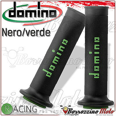 COPPIA 2 MANOPOLE DOMINO RACING NERO/VERDE KAWASAKI NINJA SUPER SOFT GRIPS 126mm