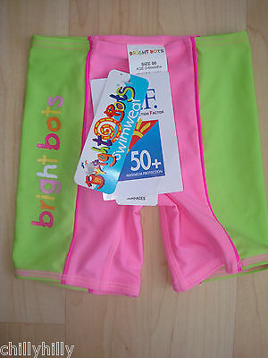 Girls Bright Bots Swimshorts UPF50+ Hot Pink/Lime Green 3-6Mths BNWT