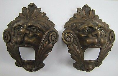 Antique Pair Bronze Monster Beast Lion Head Decorative Architectural Hardware 2