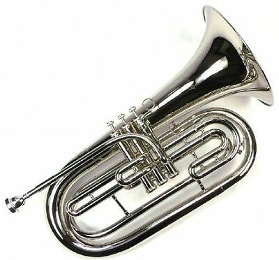 Advanced Monel Pistons Marching Baritone Key Of Bb W/ Case and Plated Finish