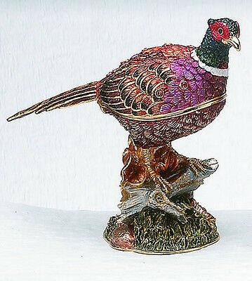 Pheasant Trinket Box Crystal Accents Magnetic Closure Bird Wildlife New