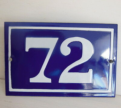 OLD FRENCH HOUSE NUMBER SIGN door gate PLATE PLAQUE Enamel steel metal 72 Blue