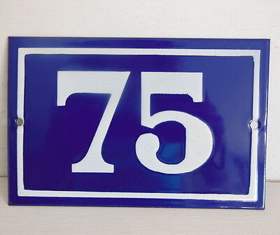 OLD FRENCH HOUSE NUMBER SIGN door gate PLATE PLAQUE Enamel steel metal 75 Blue