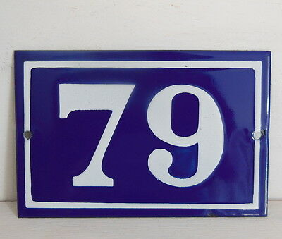 OLD FRENCH HOUSE NUMBER SIGN door gate PLATE PLAQUE Enamel steel metal 79 Blue