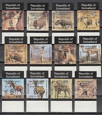 : Somaliland, 1999 issue. Wild Animals with Chile Scout Jamboree o/prt. IMPERF.
