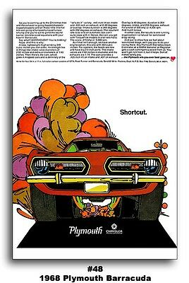 13x19 1968 PLYMOUTH BARRACUDA CUDA AD ART POSTER 340 383 BROCHURE MOPAR NEW