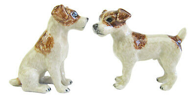 Miniature Ceramic Hand Painted Dog figurine Jack Russell -Sitting & Standing (A)