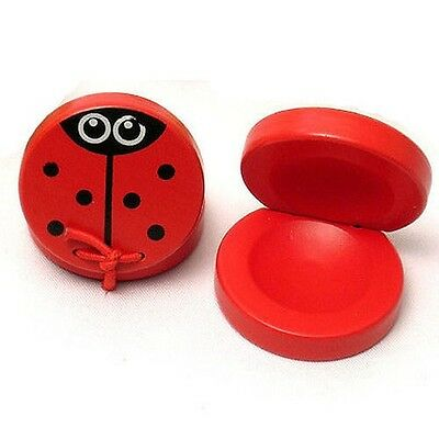 Wooden Castanets Cute Ladybug Painted Design Ages 2+ years - One Only