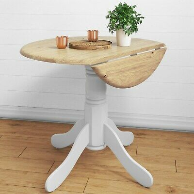Rhode Island Round Drop Leaf 4 Seater Dining Table White/Natural RHD008