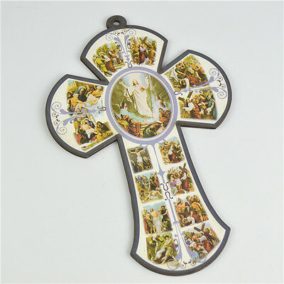 Wooden Religious Saint Crucifixes With Holy Jesus Picture