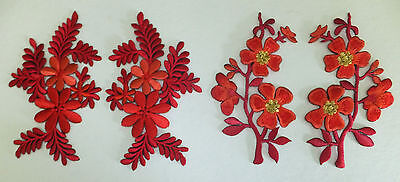 RED FLOWER PATCH x 2, left & right pair *top quality patches* IRON-ON or SEW ON