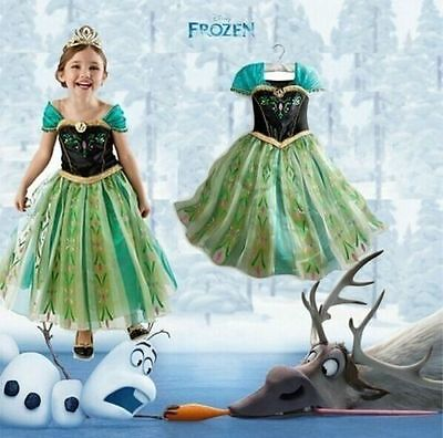 NTW -Girls Kids Princess Frozen Anna Cosplay Costume Party Dress Size:2-10