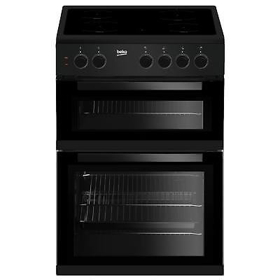 Beko KDC611K 60cm A Rated Double Oven 4 Burners Ceramic Electric Cooker in Black