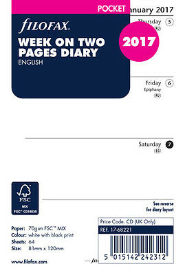 Filofax Pocket 2017 Week To View (On 2 Pages) Diary Insert Refill 17-68221