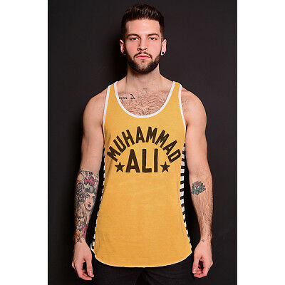 Roots of Fight Muhammad Ali Classic Striped Tank Top - Yellow