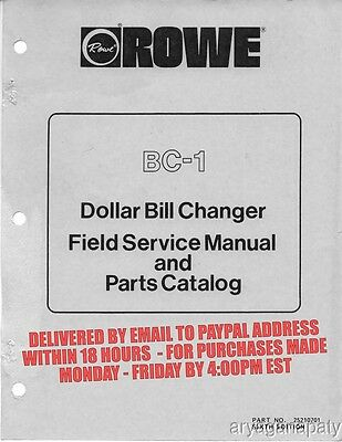 Rowe BC-1 Dollar Bill Changer Manual (143 Pages) PDF sent by email