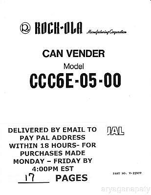 Rock-ola CCC6E-05 Service Manual PDF sent by email
