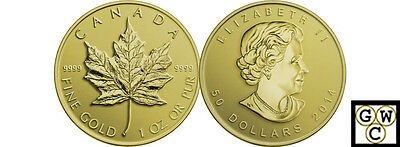2014 Gold Maple Leaf Bullion Comm $50 Pure Gold 1oz .9999 Fine (NT) (13826)