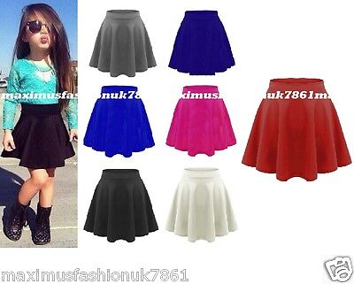 New Kids Girls High Waisted Children Flippy Flared Short Skater Skirt 7-13Years