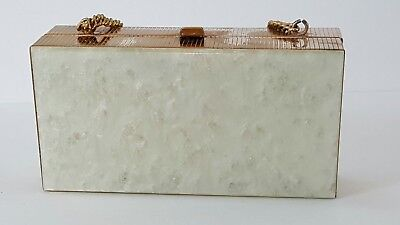 Vintage 1950's Pearlized Lucite Brass Box Purse Evening Bag Chain Strap Clip