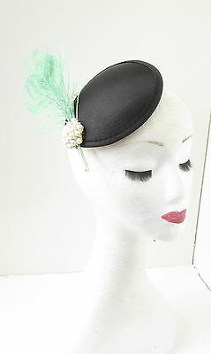 Mint Green Black Peacock Feather Fascinator Hair Clip Headpiece Vtg Races 8AF