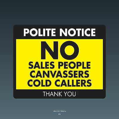 SKU071 Stop Cold Calling Door Sticker No Canvassers Callers Sign - 150mm x 120mm
