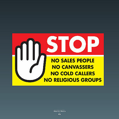 SKU74 Stop Cold Calling Door Sticker No Canvassers Callers Religious Groups Sign