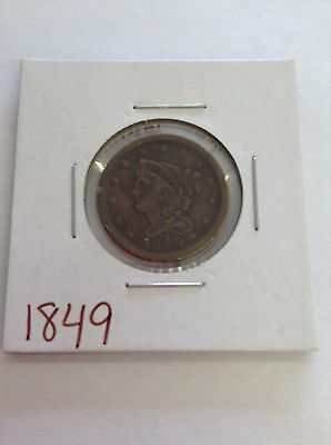 1849 Braided Hair Half Cent. **Very Nice** **Free Shipping**