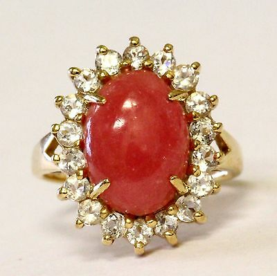 10k yellow gold womens cubic zirconia cz ring synthetic chalcedony stone 5.9g