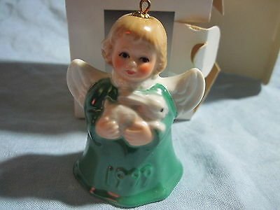 1999 Goebel ANGEL BELL ORNAMENT Green with Bunny Rabbit in Box
