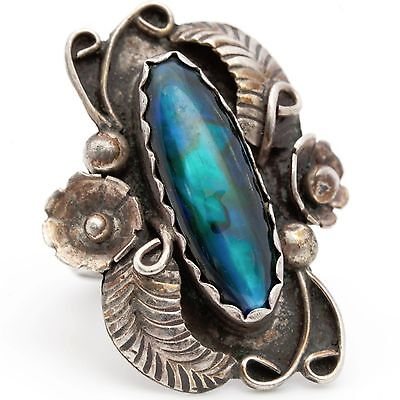 Antique C. 1960 Sterling Silver Native Pawn Navajo Paua Shell Ring! Sz 7.75