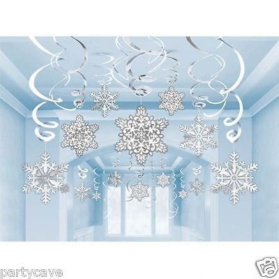 30 x  SNOWFLAKE SWIRLS CHRISTMAS CEILING HANGING DECORATION DISNEY FROZEN PARTY