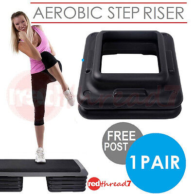 Aerobic Step Risers Exercise Workout Gym Cardio Fitness Bench 1 Pair Everfit New