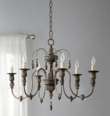 NEW French Restoration Horchow Modern Farmhouse Vintage Beaded Chandelier