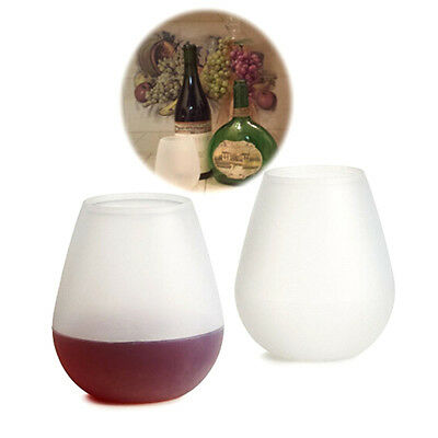 Top Silicone Wine Glass Unbreakable Stemless Beer Pool Outdoor Cup Camping BBQ