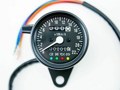 Speedo 220KPH with Warning Lights, Black, Cafe Racer, Bobber, Chopper, Custom